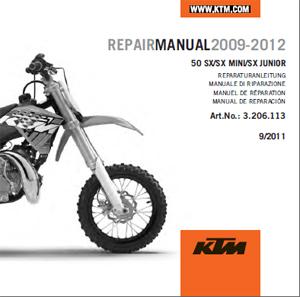 aomc mx ktm cd repair manual 50 sx 09 12 rh ktm parts com 2015 ktm 50 sx repair manual 2014 ktm 50 sx owner's manual
