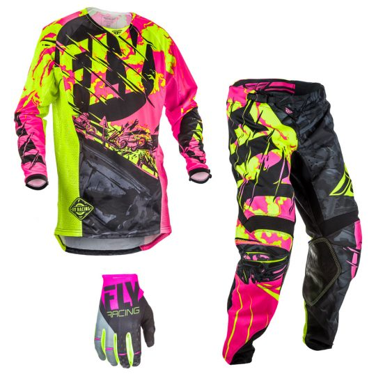 Fly Racing Mens /& Youth Black//Neon Pink//Hi-Vis Kinetic Outlaw Dirt Bike Jersey