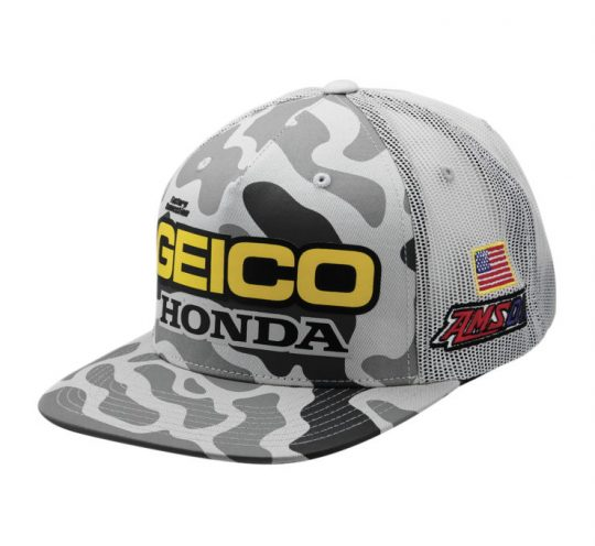 9514a18fee75c AOMC.mx  100% Men s Geico Honda Podium Snapback Hat (Grey Camo)